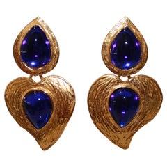 Vintage Yves Saint Laurent Rive Gauche Drop Heart Earrings