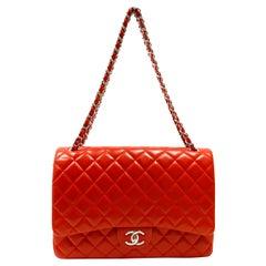 Chanel Red Lambskin Maxi Flap Bag