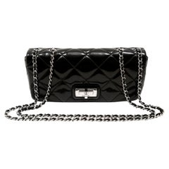 Chanel Black Patent Leather East West Reissue Flap Bag