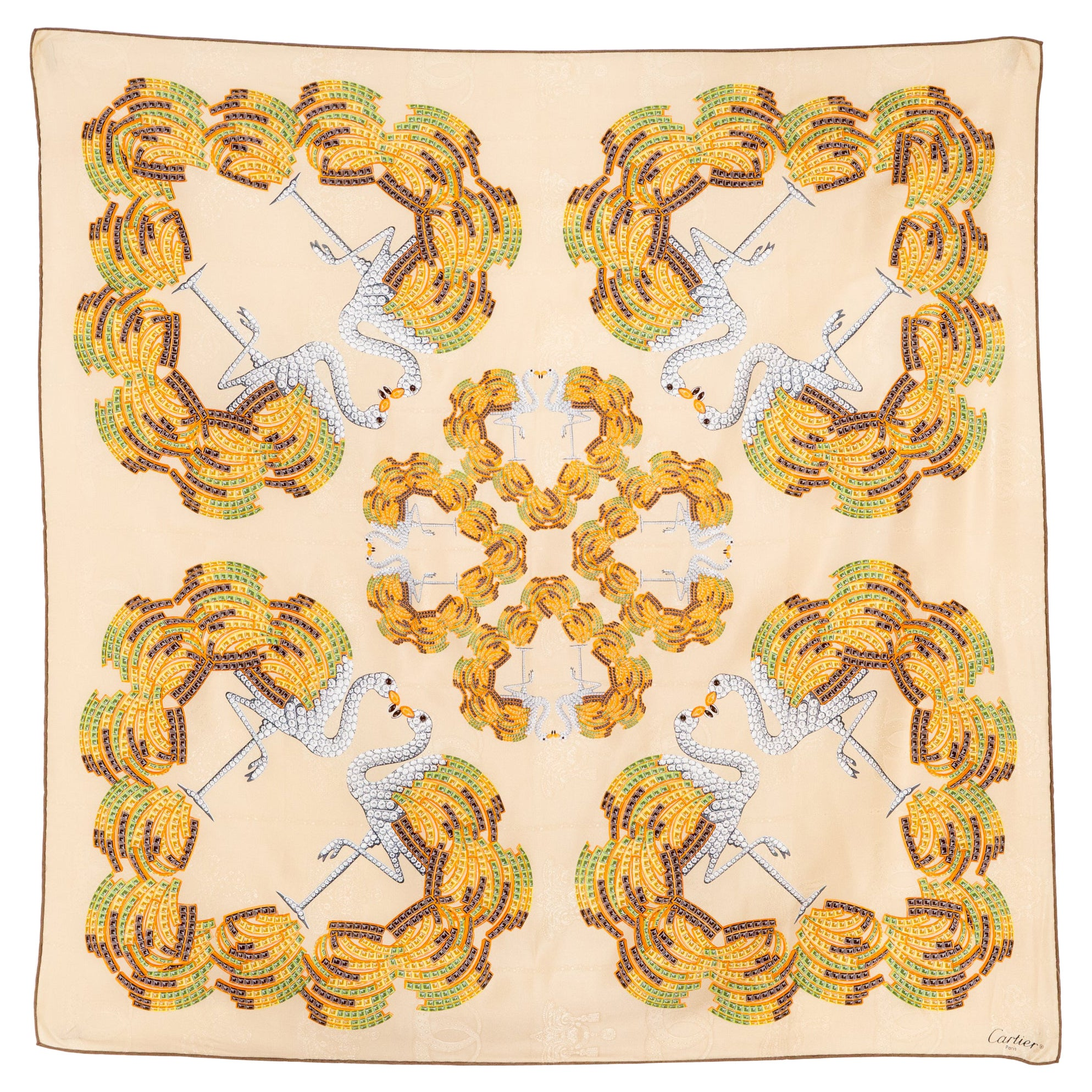 Cartier Flamingo and Jewels Silk Scarf