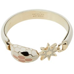 Bvlgari White Leather Gold Plated Serpenti Forever Bracelet