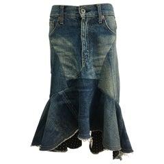 Junya Watanabe Denim Jean Patch Skirt AD2013