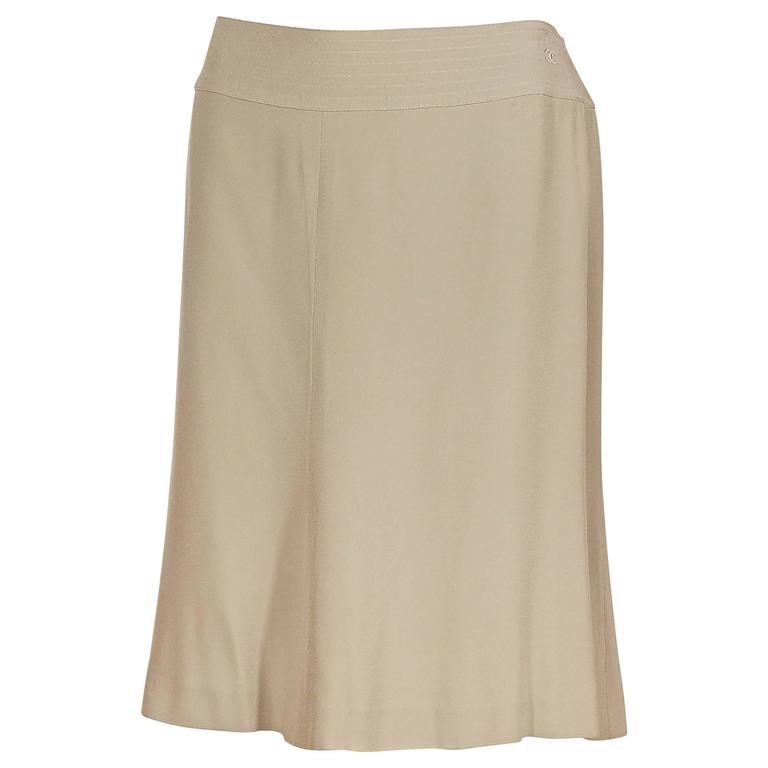Tan Chanel Silk A-Line Skirt 1