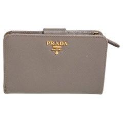 Prada Beige Saffiano Leather Wallet French Flap Wallet