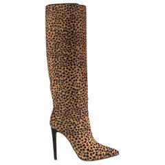 Sergio Rossi Leopard Print Calf Hair Boots EU 37.5 UK 4.5 US 7.5