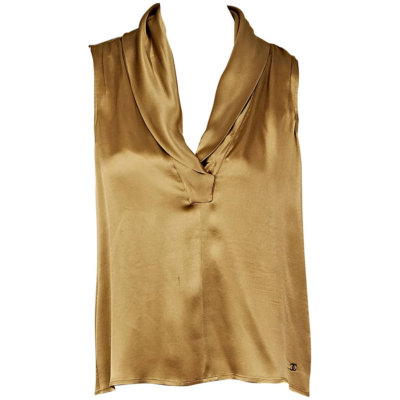 Gold Chanel Silk Sleeveless Blouse At 1stdibs
