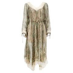 Zimmermann Lace Trimmed Printed Silk Chiffon Midi Dress UK 10