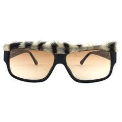 New Vintage Emanuelle Kahn Paris 106 40 Fur Accents Black Sunglasses France