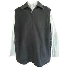 Hermes Paris Men's Black Double Face Cashmere Zip Front Vest