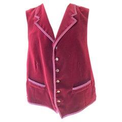 Etro Vintage Red Velvet Mens Vest with Silk Lining Size 54