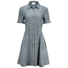 Yigal Azrouel Pleated Cotton Blend Shirt Dress US 12 UK 16
