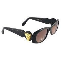 """New Vintage Look Riviera """" Via Paris """" Sleek Black Sunglasses France"""