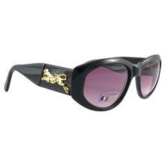 """New Vintage Look Riviera """" Laguna """" Sleek Black Sunglasses France"""