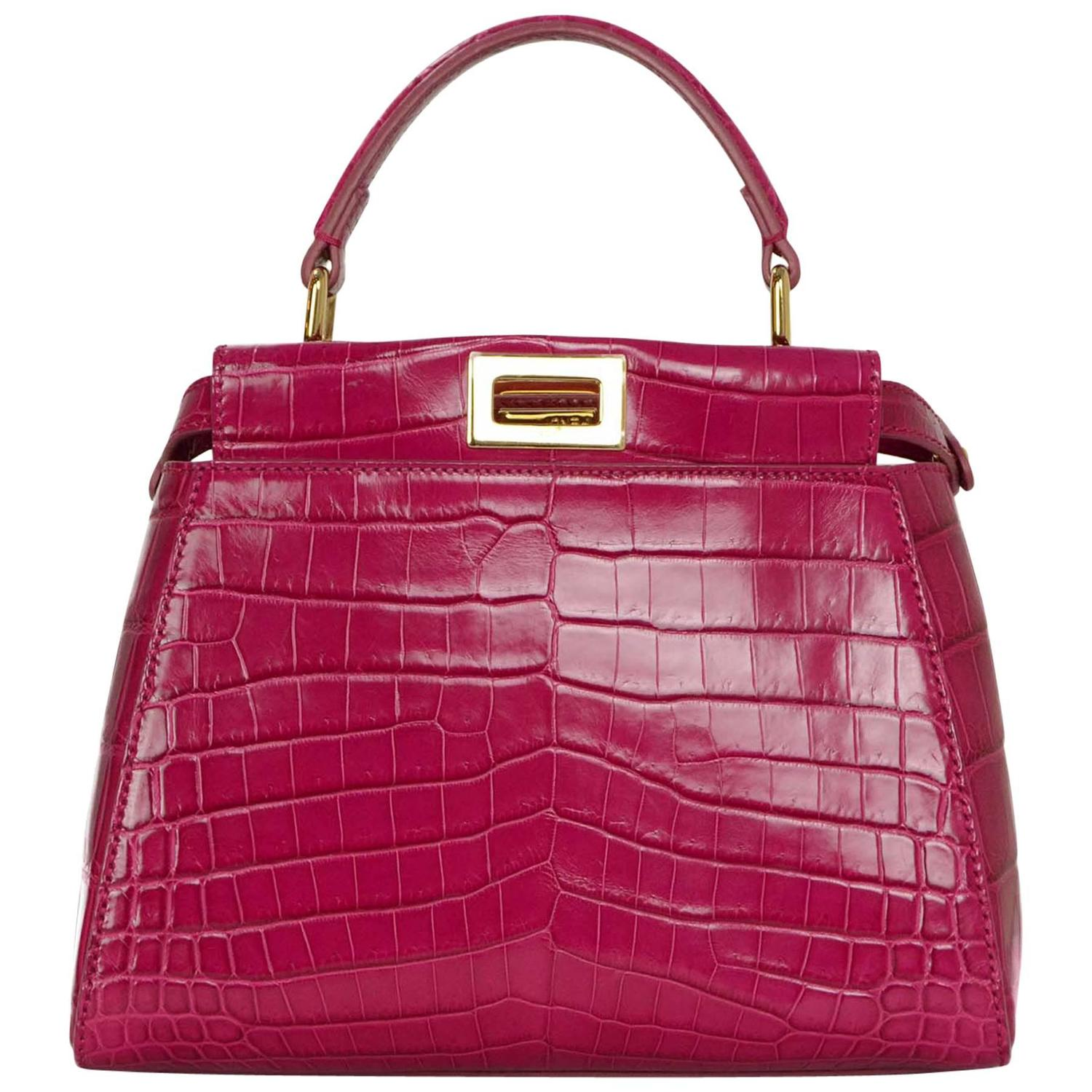 Fendi Hot Pink Glazed Crocodile Mini Peekaboo Crossbody