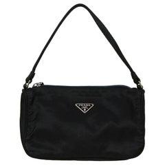 Prada Vintage Black Tessuto Nylon Baguette Bag