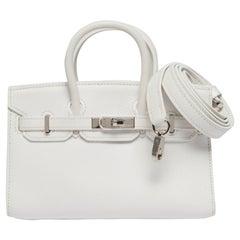 Hermès White Micro Birkin Handbag