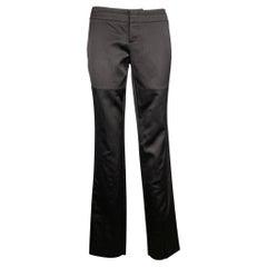 GUCCI by TOM FORD Size 2 Black Silk / Cotton Rhinestone Horse Bit Dress Pants