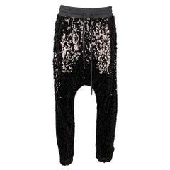 R13 Size M Black Cotton Elastic Waistband Sequin Field Sweatpants