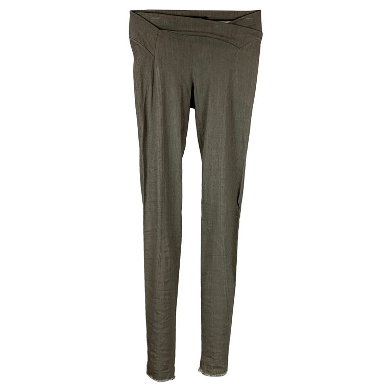URBAN ZEN by DONNA KARAN Size 2 Slate Linen Blend Leggings For Sale