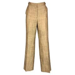 OSCAR DE LA RENTA Size 10 Brown & Cream Woven Dress Pants