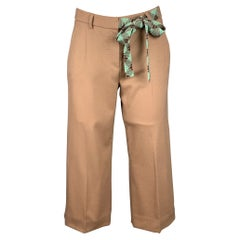 M MISSONI Size 2 Khaki & Turquoise Wool Cropped Belted Casual Pants