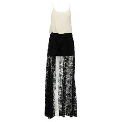 Jay Ahr Draped Voile And Lace Maxi Dress MEDIUM