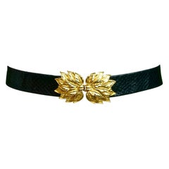 Mimi Di N Black Leather Snakeskin Belt with Gold Plated Leaf Design Buckle 1970s