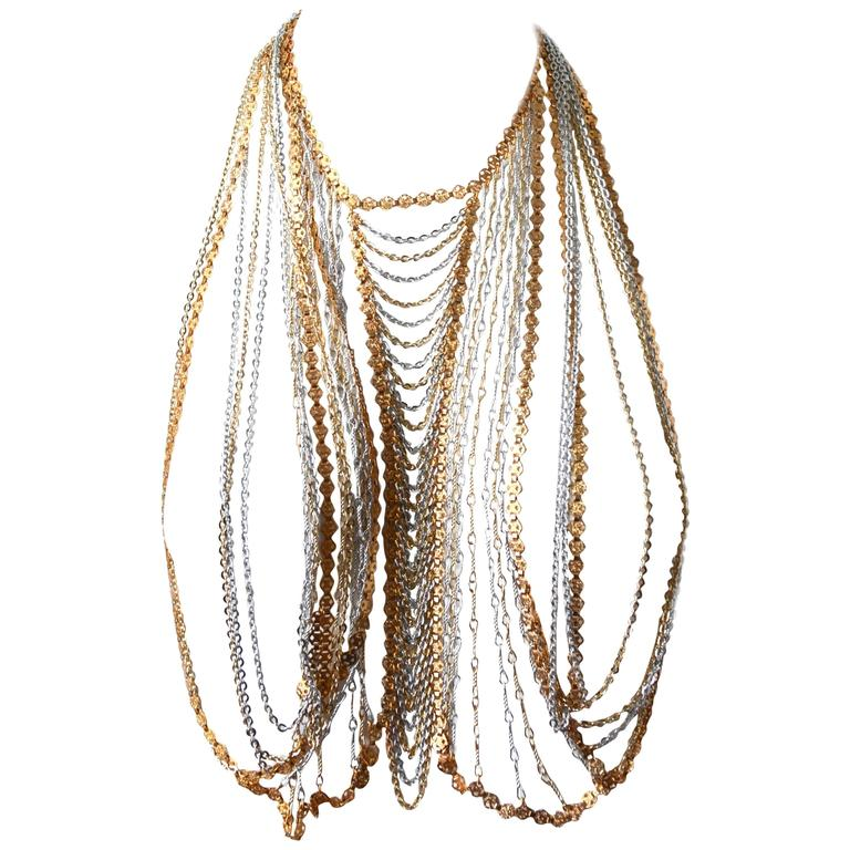 Trifari Gold and Silver Body Chain For Sale