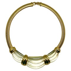 Givenchy 1980s Gold & Faux Rock Crystal Necklace