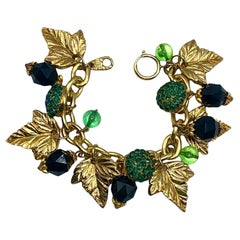 Jacky de G 1980s Gold Leaves & Bead Charm Bracelet.
