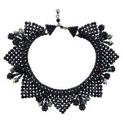 Bijoux Lo.Sa Italian 1950s Black Crystal Bead Woven Necklace