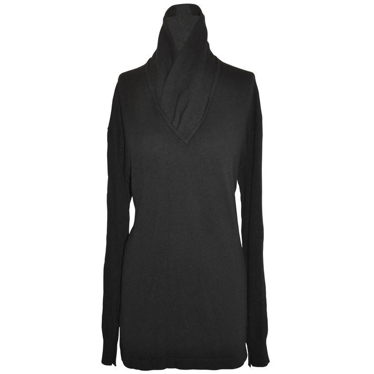 Donna Karan Black Scottish Cashmere Deep V Cowl Neck Pullover