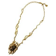 Kenneth Jay Lane 1970s Medusa Pendant Necklace