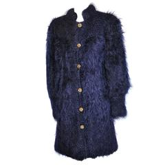 House of Harris Fully Lined Dark Navy Angora Coat