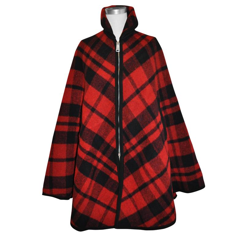 Pendleton Reversible Double-Faced Wool Plaid Poncho 1