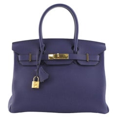 Birkin Handbag Bleu Encre Togo with Gold Hardware 30