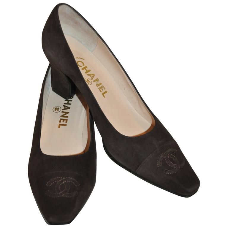 Chanel Coco Brown Signature Lambskin Suede Mid-Heel Pumps
