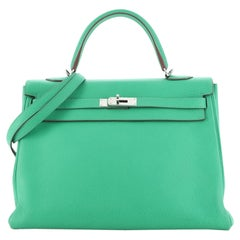 Kelly Handbag Menthe Clemence with Palladium Hardware 35