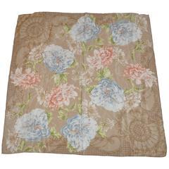 Liz Claiborne Taupe Multi-Floral Silk Scarf
