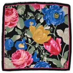 Saldarini (Paris) Bold Multi-Color Abstract Floral Silk Scarf