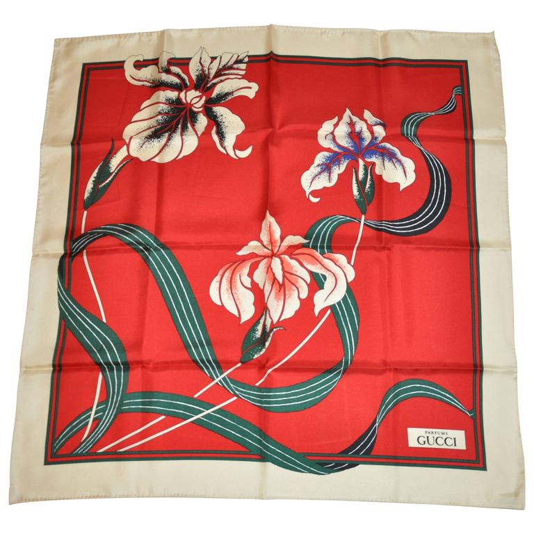 """Gucci """"Limited Edition"""" Floral with Beige Border Silk Scarf"""