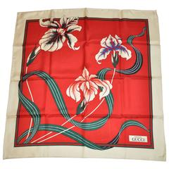 "Gucci ""Limited Edition"" Floral with Beige Border Silk Scarf"