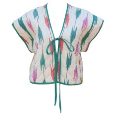 Bill Tice Cotton Ikat Quilted Vest Top, 1970's