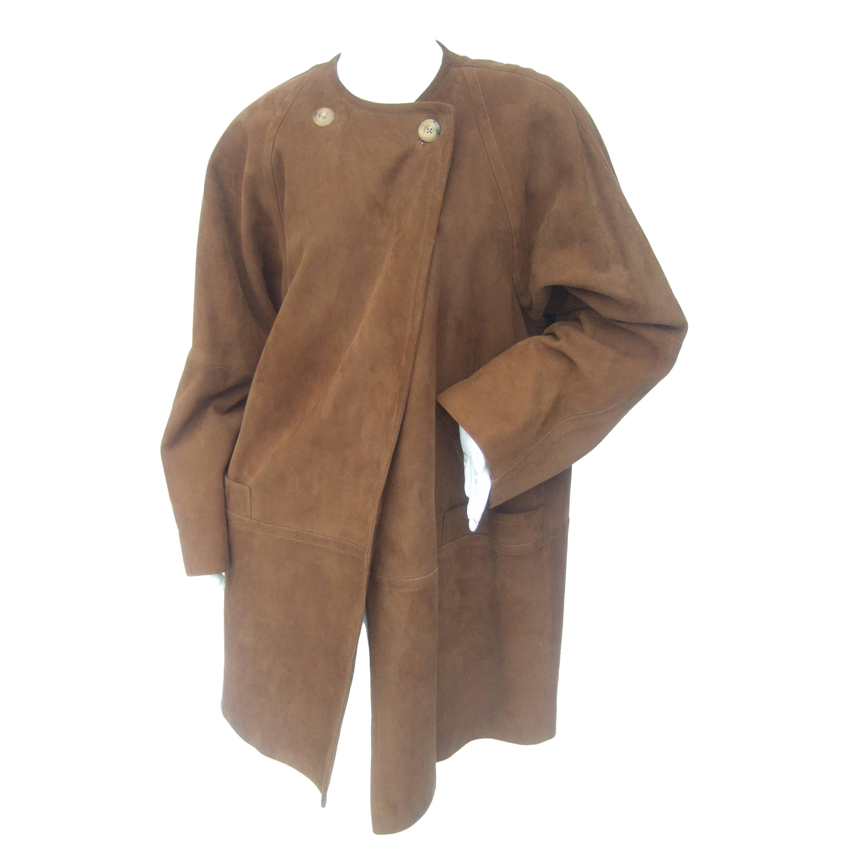 Jaeger Stylish Brown Doeskin Suede Duster Coat ca 1990s