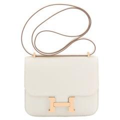 Hermes Craie Rose Gold Hardware Mini Constance 18cm Epsom Bag RARE Z Stamp, 2021