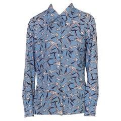 1970S Carolina Blue  & Grey Polyester Stork Printed Shirt