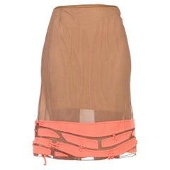 2000S RALPH RUCCI Ecru Silk Net Skirt With Signature Appliqué Hem