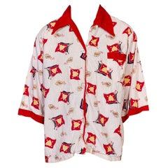 1970S White & Red Cotton Treasure Of Love Pirate Shirt