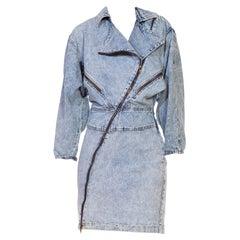 1980S Light Blue Acid Wash  Cotton Denim Alaia Style Dress