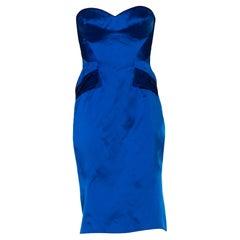 2000S ZAC POSEN Electric Blue  Silk Duchess Satin Strapless Cocktail Dress